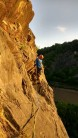 Trevers at the end of the traverse on P3 of central rib (VS 4b) at Avon gorge