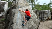 """Ryan on """"Edam"""", our first day in Fontainebleau with Napier Rock Climbing Club."""