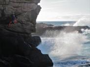 Paul on Blind Bandit (HVS 5a) at the Leaning Block cliffs - smashing stuff.