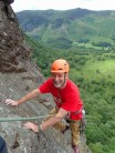 Arriving at the belay on P2 of The Coffin