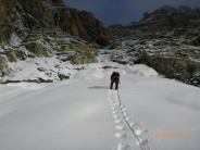 Me approaching the couloir below the Trifthorn South ridge after fresh snow