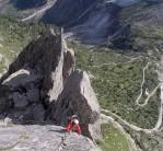 Tara on p3 of direct (Nigg) variant of NE Ridge, Punta Spazzacaldeira