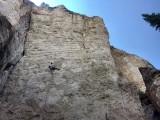 Nick Gooding climbing Thugagra (5.13b/8a) at Crag 6, Tensleep Canyon<br>© Paul Sagar