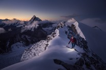 Valentine on a very snowy, very cold clear dawn on the Dent Blanche (4357) just a couple of weeks ago.