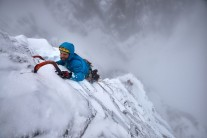 Greg Boswell on the exposed top pitch of Hanging Garden
