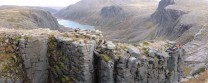 Viewing into Hell's Lum with the glacial trench of Loch Avon as the backdrop