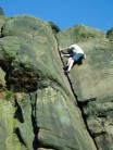 Mark Riley climbing Flake Crack VS 4c at Helsby