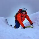 Jack in the crux gully of ENE Ridge