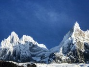 Looking across to the Aiguille de Grepon and Aiguille be Blaitiere after the storms that have lashed  Chamonix this week