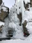 Climbing in Johnston Canyon, Alberta, Canada