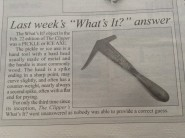 Mystery ice tool from Canadian newspaper