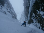 Deep inside Twisting Gully, before the ice pitch