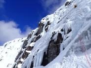 Ice climbing in sunshine in Scotland