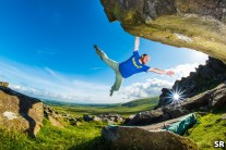 Liam Fyfe flying in the Preseli's, Grass Gulley 6c+, Presseli