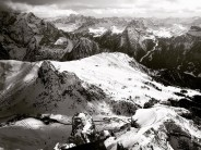 Passo Pordoi, Canazei bowl and Alba downhill from Sass Pordoi
