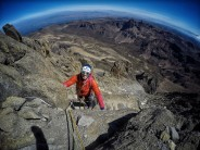 Jon Guptason nearing the top of the classic north face route on Mt Kenya