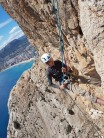 Phil Abseiling out of cave 250+m up. Had to re-read route description on this one!!  Diedro ubsa calpe
