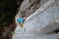 Delicacy required; cautious movement on the insecure upper wall of 'Mastermind' 8a.