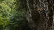 Penny Orr laybacking her way to glory on Zippy's Direct Finish to Old Man River<br>© Rob Greenwood - UKClimbing