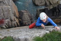 Finishing 'The Arete' (HS) at Porthclais