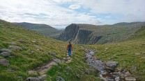 The walk in to Shelterstone Crag which is peeking it's head up in the background.