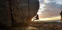 Sunset bouldering at Cummingston
