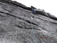 Davy Andrews on the first ascent