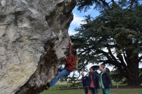 Niamh on Overhang Right Arête. WUCC received permission to climb on the boulder for the first time in 15 years!