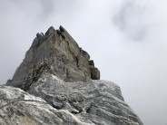 The start of the rock band of the Yalung Ri Traverse.