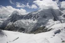 Tocclaraju (6032m) from the summit of Ishinca - climbers far below
