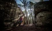 Riina bouldering in Albarracin between the showers.<br>© Josh Willett