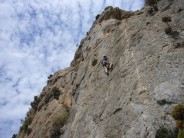 Alison climbing