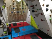 Phase 1 of my home system board and bouldering cave in the garage complete