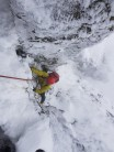 The White wizard on Four Tool Direct, the steep alternative finish to Clogwyn Central.