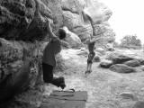 David Owen and Isaac Owen messing around at Stone Farm Rocks<br>© spiderant