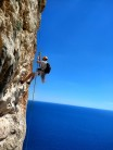 No way out but down to start the next pitch. Cave abseil pitch 7 Diedro UBSA penon di ifach