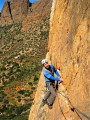 Mick Nunwick on arete variation to pitch 3 of Firesword.first ascent. Dragon Buttress Anti Atlas<br>© paulpb