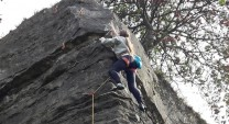 First ascent of Barney's Stormin' Arête , Stanhope's first sport route.
