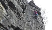 Richard Davies clipping the anchors on Murus Gallicus 7A+