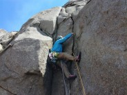 Jim Sethi placing some gear before starting up the flake of Brimstone.