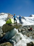 Terrible choice of bivy spot on a glacier at 5000m in Tajikistan.