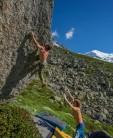 Matt Perrier bouldering at the Midi Plan