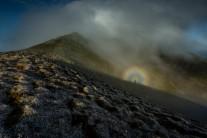 Frosty morning spectre on Mynydd Moel.