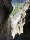 Crossing the Tyrolean, guides below us...