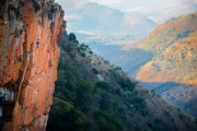 Climber on Jack of All Trades in Waterval Boven.<br>© Jonas Wiklund