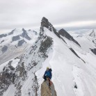 On top of the direct arete before the summit of Breithorn centrale