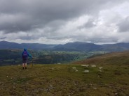 Enjoying the excellent views from Watson's Dodd over St John's in the Vale towards Keswick, Derwest Water and Skiddaw