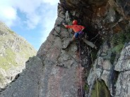 Moving through the crux on Slip Knot, White Ghyll