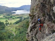 Phil Lyon enjoying the standard iconic moment on pitch 4 of the Troutdale Pinnacle.