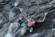 Matt Broadhurst climbing out the bouldery start of Nordic Flower 8c.<br>© Matt Shepard